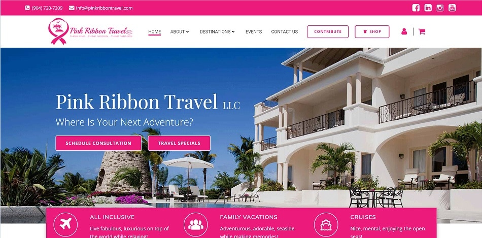 Pink Ribbon Travel Web Design